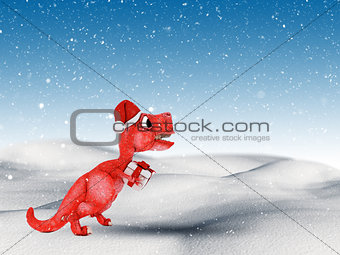 3D snowy landscape with cute dinosaur carrying a gift