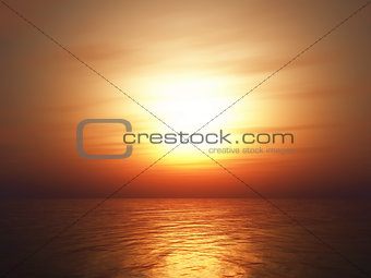 3D sunset ocean background