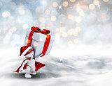 3D superhero Christmas figure carrying gift
