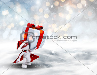 3D superhero Christmas figure carrying gift