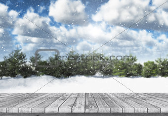 3D wooden table looking out to a winter landscape