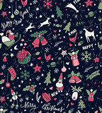 Sketchy doodle winter Christmas and New Year pattern