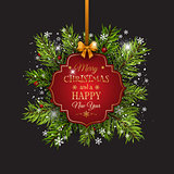 Christmas background with fir tree branches and decorative label