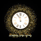 Happy New Year background with gold glitter