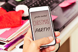 text you are invited christmas party in a smartphone