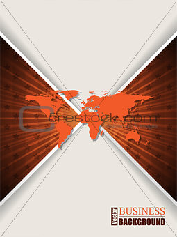 Abstract orange brochure with stars and world map