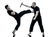 men krav maga fighters fighting isolated