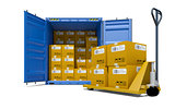 Cargo container with boxes and pallet trolley