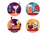 Set of alcoholic beverages