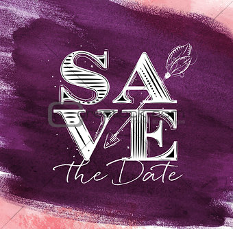 Poster wedding save date violet