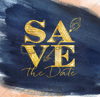 Poster wedding save date blue