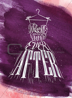 Poster wedding dress violet