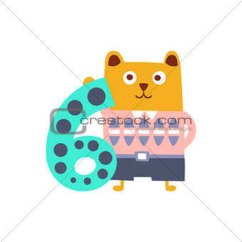 Bear Standing Next To Number Six Stylized Funky Animal