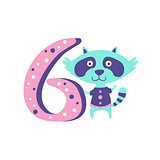 Raccoon Standing Next To Number Six Stylized Funky Animal