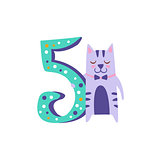 Cat Standing Next To Number Five Stylized Funky Animal