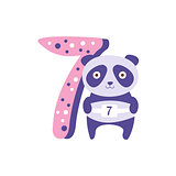 Panda Standing Next To Number Seven Stylized Funky Animal