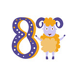 Ram Standing Next To Number Eight Stylized Funky Animal