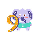 Elephant Standing Next To Number Nine Stylized Funky Animal