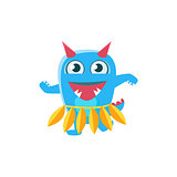 Blue Monster With Horns And Spiky Tail Dancing Hula