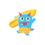 Happy Blue Monster With Horns And Spiky Tail  Surfboard