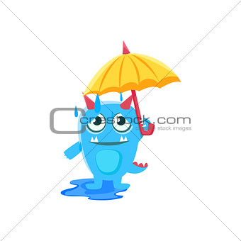 Blue Monster With Horns And Spiky Tail  Umbrella Under Rain