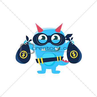 Blue Monster With Horns And Spiky Tail Robbing The Bank