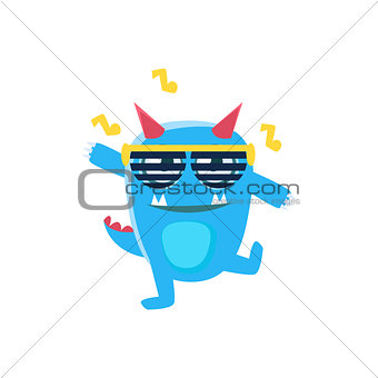 Blue Monster With Horns And Spiky Tail Dancing In Club