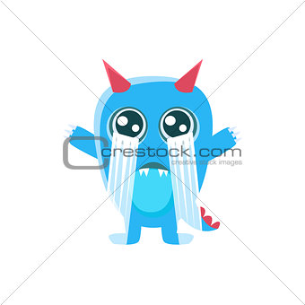 Blue Monster With Horns And Spiky Tail Crying Out Loud