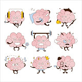 Brain Different Activities And Emoticons Icon Set