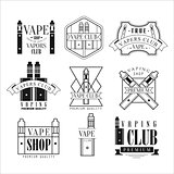 Vape Club Black And White Emblems