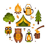 Camping Associated Symbols Illustration