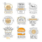 Burger Street Food Promo Labels Collection