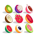 Exotic Fruits Sliced In Half Set Of Bright Icons