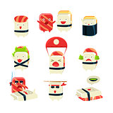 Japanese Sushi Man Different Activities