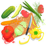 Cutting Vegetables Illustration, With  Board And Fresh Crops