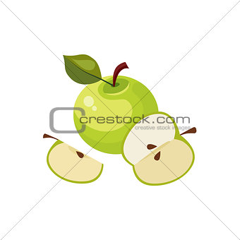 Green Apple Breakfast Food Element Isolated Icon