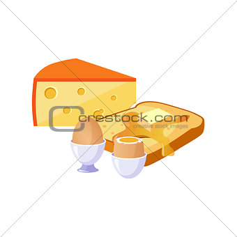 Toast, Cheese And Egg Breakfast Food Elements Isolated Icon