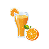 Orange Juice Breakfast Food Element Isolated Icon