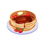 Pancakes With Chocolate Sauce Breakfast Food Element Isolated Icon
