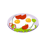 Fried Eggs Breakfast Food Element Isolated Icon