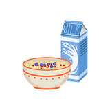 Milk And Porridge Breakfast Food  Drink Set