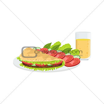 Omlet With Vegetables And Juice Breakfast Food  Drink Set