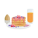 Pancakes, Egg And Orange Juice Breakfast Food  Drink Set