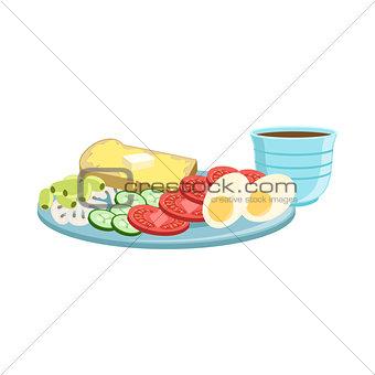 Toast, Egg, Vegetables And Coffee Breakfast Food  Drink Set