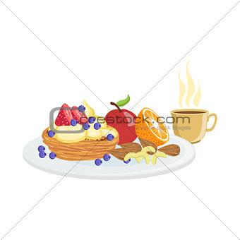 Cake, Fruit And Coffee Breakfast Food  Drink Set