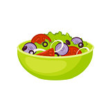 Fresh Salad Breakfast Food Element Isolated Icon