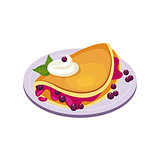 Blueberry Pancake Breakfast Food Element Isolated Icon