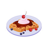 Sweet Waffle Breakfast Food Element Isolated Icon