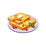 Toasts With Butter Breakfast Food Element Isolated Icon