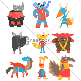 Animas Disguised As Superheroes Set Of Geometric Style Stickers